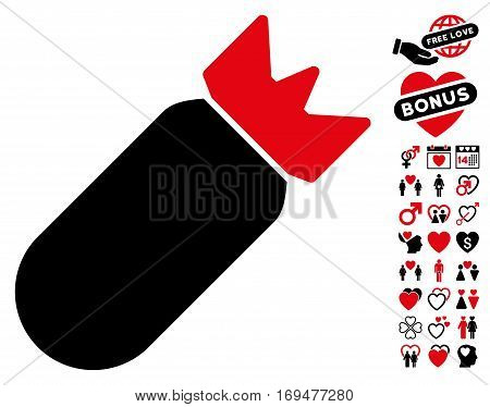 Aviation Bomb icon with bonus dating images. Vector illustration style is flat iconic intensive red and black symbols on white background.