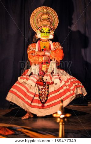 Performer Of Kathakali In Kerala
