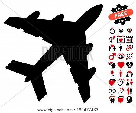 Bomber icon with bonus dating graphic icons. Vector illustration style is flat iconic intensive red and black symbols on white background.