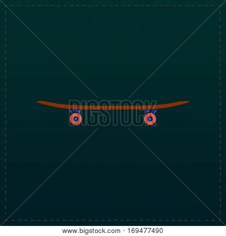 Skateboard. Color symbol icon on black background. Vector illustration
