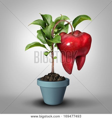 Dentistry and tooth growth or dentist oral medicine health care symbol as a groeing apple tree with a fruit shaped as a molar teeth icon as a dental hygiene and orthodontics metaphor with 3D illustration elements.