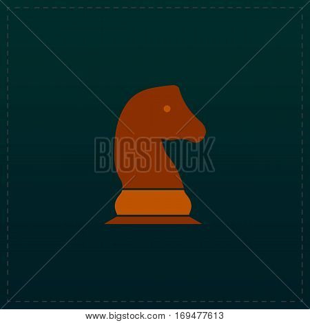 Chess knight. Color symbol icon on black background. Vector illustration
