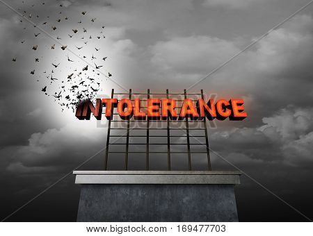 Intolerance social issue concept and hope from hate symbol as a sign with text as part of the letters transform into birds revealing the word tolerance as a metaphor for descrimination and prejudice as a 3D illustration.
