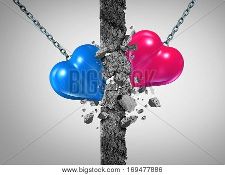 Breaking a relationship wall and romantic couple challenge or marriage problems symbol as a blue and pink heart demolishing an obstacle to passioin success or saint valentines icon with 3D illustration elements.