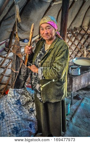 Older Woman In Nomad Tent In Kyrgyzstan