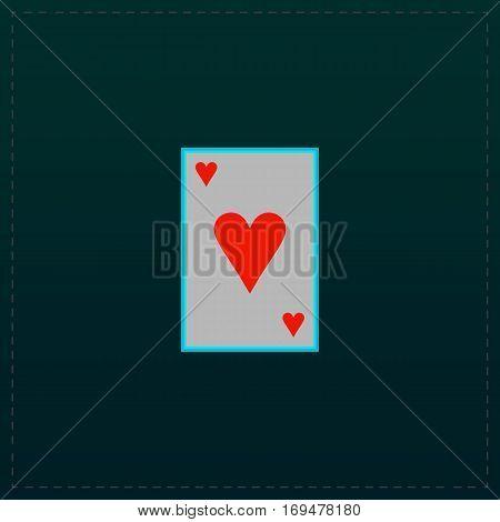 Hearts card. Color symbol icon on black background. Vector illustration