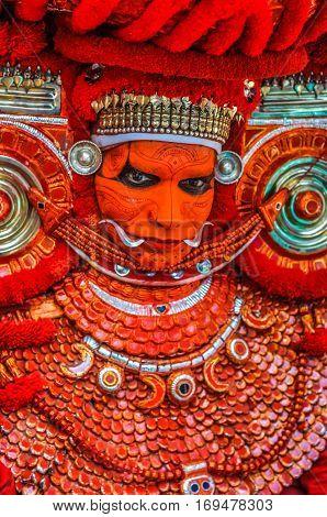 Colourful Ritual Dancer In Kerala