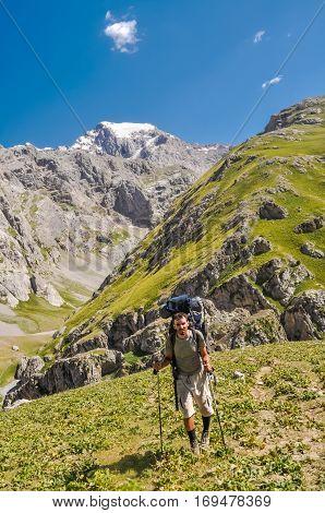 Hiking Man In Kyrgyzstan