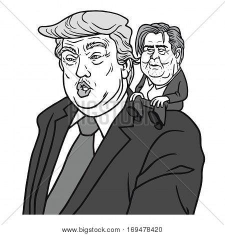 Donald Trump with Chief Strategist Steve Bannon Cartoon Vector Illustration. February 7, 2017