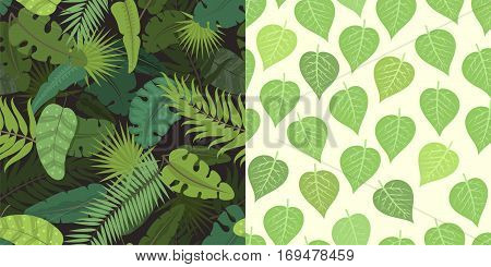 Seamless pattern with green leaves vector illustration. Nature design floral summer plant textile fashion tropical art. Abstract fabric colorful hawaii vintage drawing.