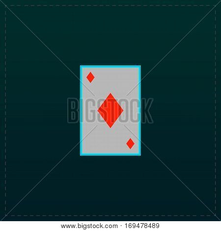 Diamonds card. Color symbol icon on black background. Vector illustration