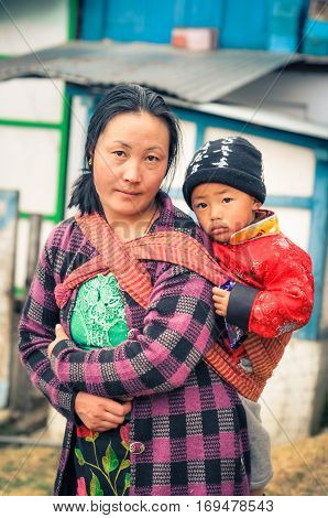 Mother With Child In Arunachal Pradesh