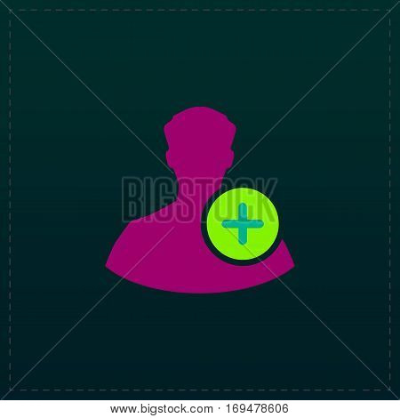 User profile web with plus glyph. Color symbol icon on black background. Vector illustration