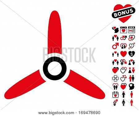 Three Bladed Screw icon with bonus valentine design elements. Vector illustration style is flat iconic intensive red and black symbols on white background.