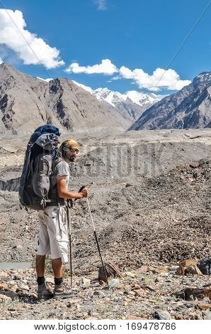 Man With Rucksack In Kyrgyzstan