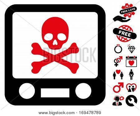 Xray Screening pictograph with bonus dating clip art. Vector illustration style is flat iconic intensive red and black symbols on white background.