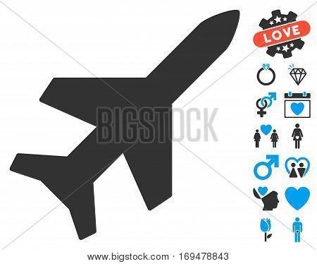 Aeroplane pictograph with bonus lovely symbols. Vector illustration style is flat iconic blue and gray symbols on white background.