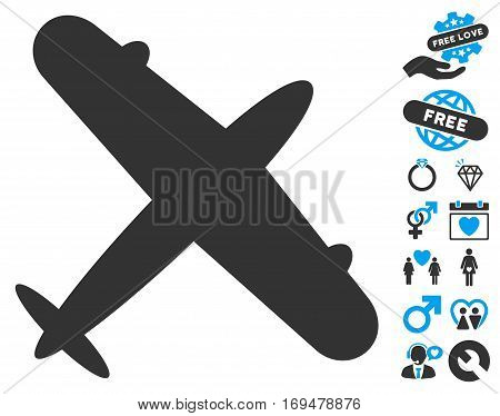 Aeroplane icon with bonus love clip art. Vector illustration style is flat iconic blue and gray symbols on white background.