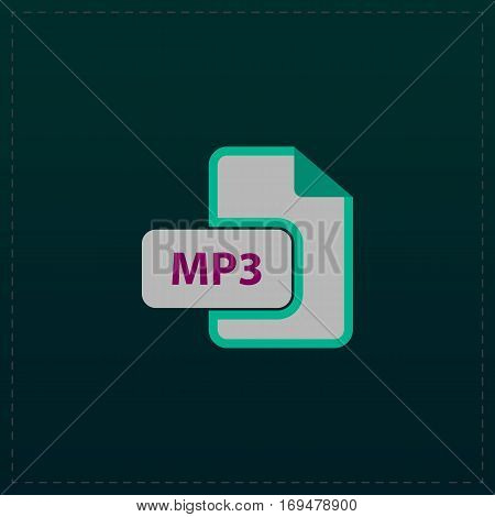 MP3 audio file extension. Color symbol icon on black background. Vector illustration
