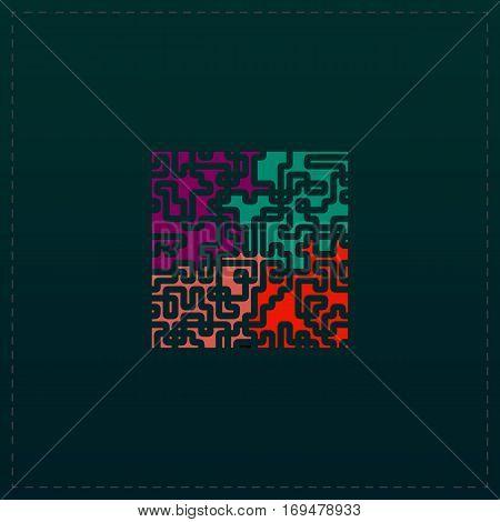 Labyrinth Puzzle rebus. Color symbol icon on black background. Vector illustration