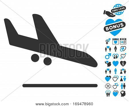 Aiplane Landing pictograph with bonus lovely pictures. Vector illustration style is flat iconic blue and gray symbols on white background.