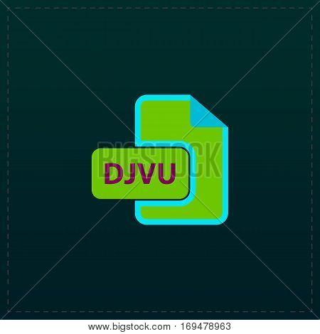 DJVU ebook file extension. Color symbol icon on black background. Vector illustration