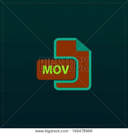 MOV video file extension. Color symbol icon on black background. Vector illustration