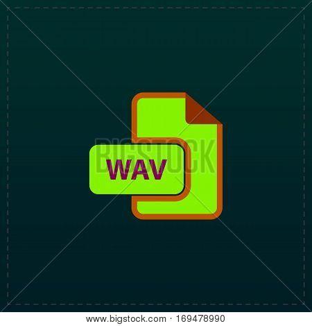 WAV audio file extension. Color symbol icon on black background. Vector illustration
