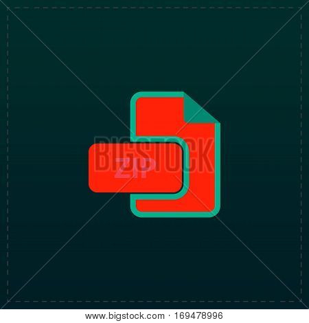 ZIP archive file extension. Color symbol icon on black background. Vector illustration