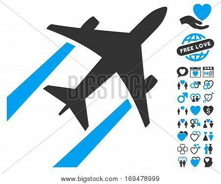 Air Jet Trace icon with bonus love clip art. Vector illustration style is flat iconic blue and gray symbols on white background.