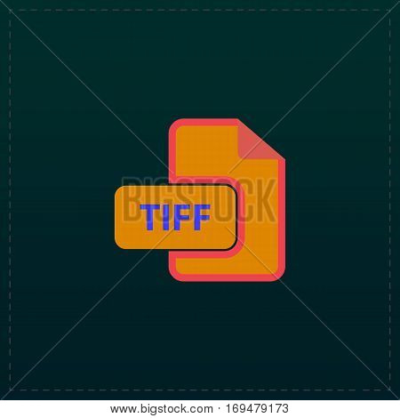 TIFF image file extension. Color symbol icon on black background. Vector illustration