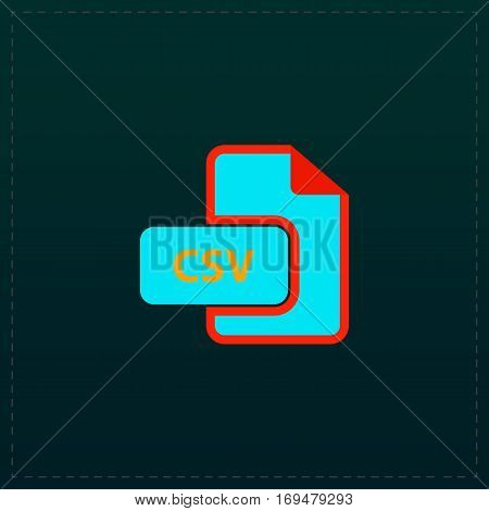CSV extension text file type. Color symbol icon on black background. Vector illustration
