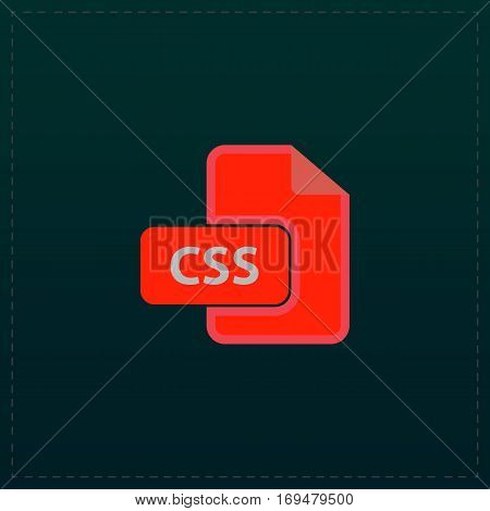 Css file extension. Color symbol icon on black background. Vector illustration