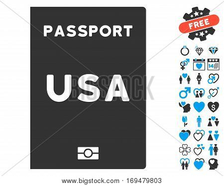 American Passport icon with bonus dating pictograph collection. Vector illustration style is flat iconic blue and gray symbols on white background.