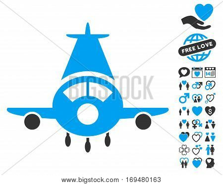 Cargo Plane pictograph with bonus dating pictures. Vector illustration style is flat iconic blue and gray symbols on white background.