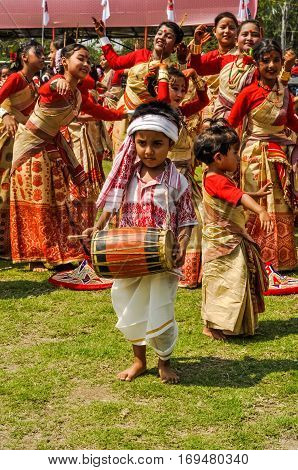 Boy With Drum In Assam