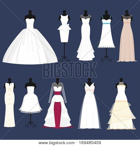 Wedding bride dress celebration vector illustration. Fashion bride design made in modern accessories silhouette. Holiday vector bridal shower composition.