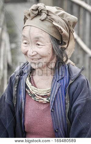 Old Smiling Woman In Arunachal Pradesh