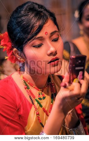Girl With Phone In Assam