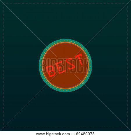 Best  Badge, Label or Sticker. Color symbol icon on black background. Vector illustration
