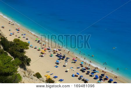 Egremni beach, Lefkada island, Greece. Large and long beach with turquoise water on the island