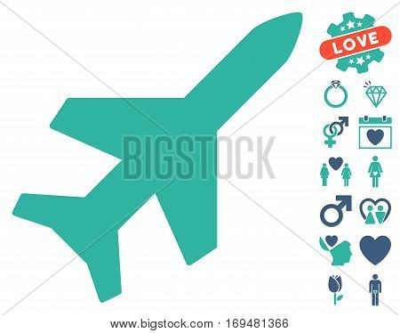 Aeroplane icon with bonus valentine pictograph collection. Vector illustration style is flat iconic cobalt and cyan symbols on white background.