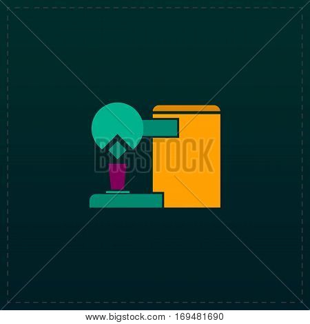 Coffee maker. Color symbol icon on black background. Vector illustration