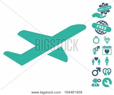 Airplane Takeoff icon with bonus valentine pictograms. Vector illustration style is flat iconic cobalt and cyan symbols on white background.