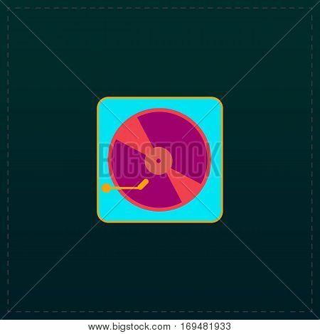 Vinyl record player. Color symbol icon on black background. Vector illustration
