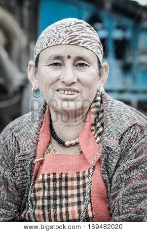 Woman With Bindi In Himachal Pradesh