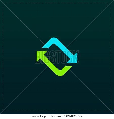 Spinning, rotating arrows. Color symbol icon on black background. Vector illustration