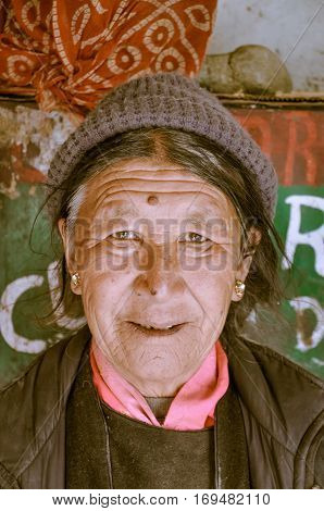 Woman With Kind Sight In Ladakh