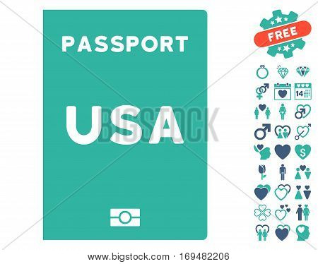 American Passport icon with bonus dating symbols. Vector illustration style is flat iconic cobalt and cyan symbols on white background.