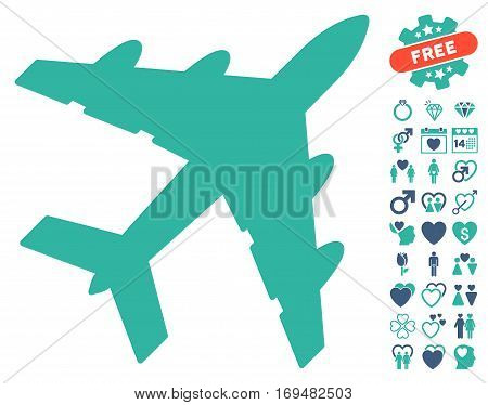 Bomber pictograph with bonus valentine clip art. Vector illustration style is flat iconic cobalt and cyan symbols on white background.